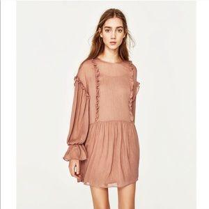 Zara Pink Frill Long Sleeve Ruffle Dress